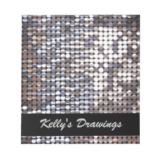 Silver Sparkling Sequin Look Notepad