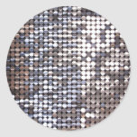 Silver Sparkling Sequin Look Round Sticker