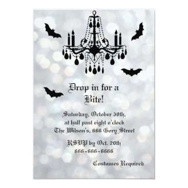 Halloween Themed Silver Sparkly Bats Halloween Invitation