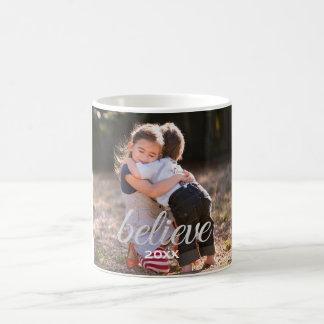 Silver Sparkly Believe Script Christmas Photo Coffee Mug
