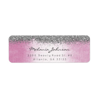 Silver Sparkly Glitter Pink Pastel Label