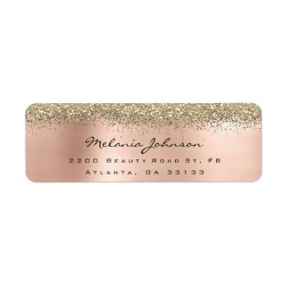 Silver Sparkly Glitter Pink Rose Gold  Metallic Label