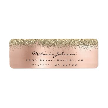 Beach Themed Silver Sparkly Glitter Pink Rose Gold  Metallic Label
