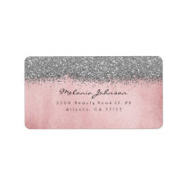 Silver Sparkly Glitter Powder Pink Gold Label