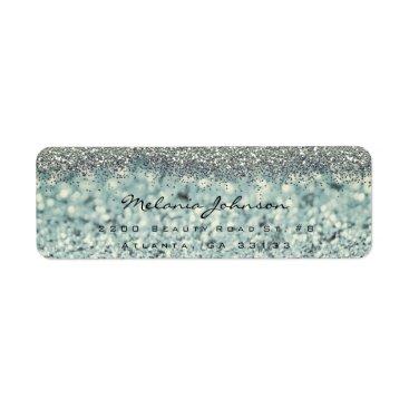 Beach Themed Silver Sparkly Glitter Silver Instagram Metallic Label