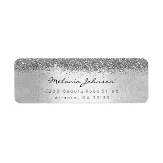 Silver Sparkly Glitter Silver Metallic Label