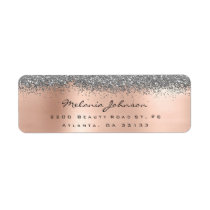 Silver Sparkly Glitter Silver Rose Gold  Metallic Label