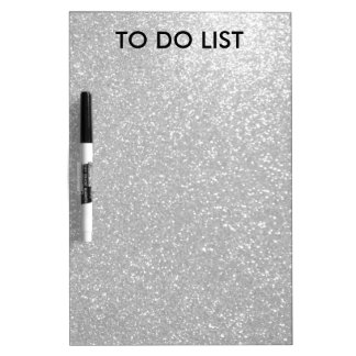 Silver sparkly glitter to do list dry erase board