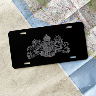 Silver Special Agent Issue 007 U.K. Coat of Arms License Plate