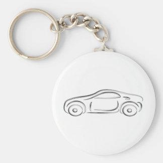 Silver sports car basic round button keychain