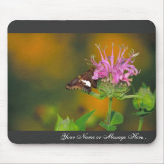 Silver spotted skipper on Wild bergamot Mouse Pad