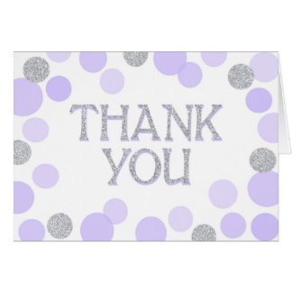 Silver Sprinkles Scatter Lavender Dots Thank You Card