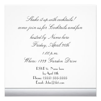 Silver Square cocktail party template Personalized Invites