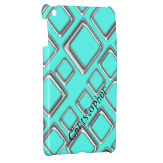 Silver Square on Turquoise iPad Mini Case Template