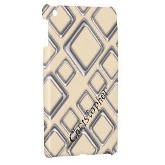 Silver Squares on Creme iPad Mini Case Template