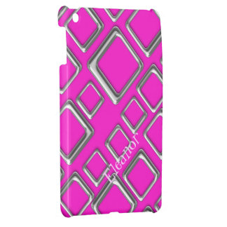 Silver Squares on Pink iPad Mini Case Template