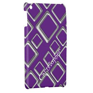 Silver Squares on Purple iPad Mini Case Template