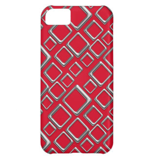Silver Squares on Red iPhone 5 Cover