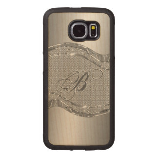 Silver Stainless Steel & Diamonds Pattern Print Wood Phone Case