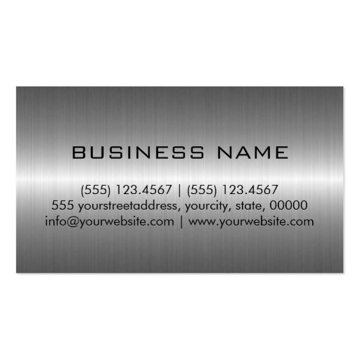 Silver Stainless Steel Metal Business Card Template (back side)
