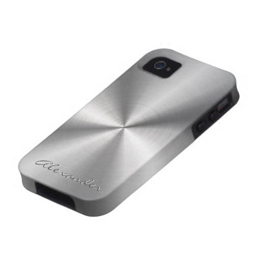 Silver Stainless Steel Metal Pattern-Custom Text Case-Mate iPhone 4 Covers