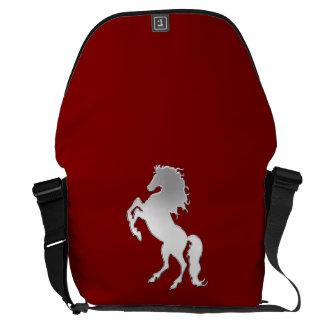 Silver Stallion on Red Messenger Bag