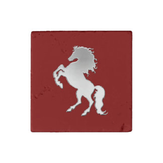 Silver Stallion on Red Stone Magnet