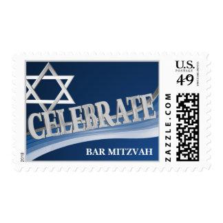 Silver Star Celebrate Bar Mitzvah Postage Stamp