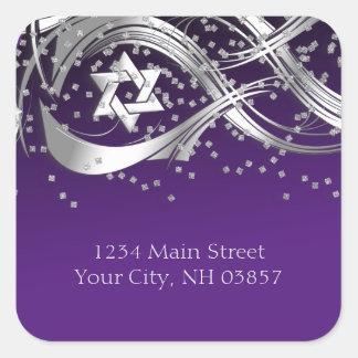 Silver Star Confetti Flourish Return Address Black Square Sticker