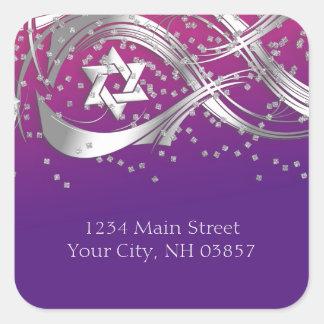 Silver Star Confetti Flourish Return Address Pink Square Sticker