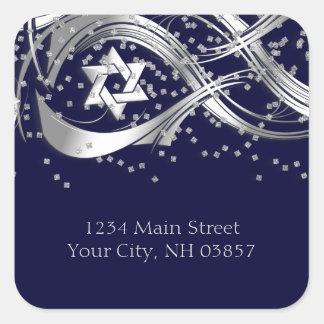 Silver Star Confetti Flourish Return Address Square Sticker