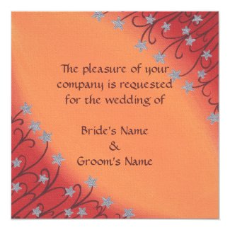 Silver Star Flowers on Orange Wedding Invitations Custom Announcement