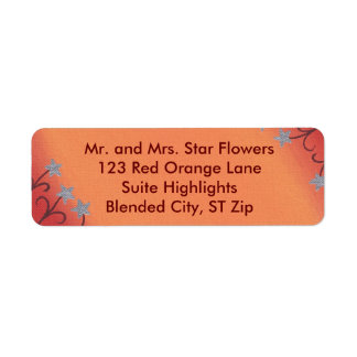 Silver Star Flowers Red Orange Address Labels