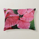 Silver Star Marble Poinsettias Pink Holiday Floral Decorative Pillow