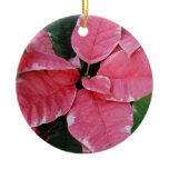 Silver Star Marble Poinsettias Pink Holiday Floral Double-Sided Ceramic Round Christmas Ornament