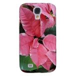 Silver Star Marble Poinsettias Pink Holiday Floral Galaxy S4 Case