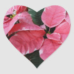 Silver Star Marble Poinsettias Pink Holiday Floral Heart Sticker