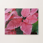Silver Star Marble Poinsettias Pink Holiday Floral Jigsaw Puzzle