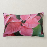 Silver Star Marble Poinsettias Pink Holiday Floral Lumbar Pillow