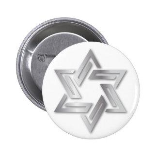 Silver Star of David Button