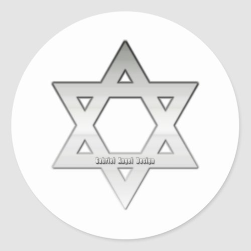 Silver Star of David Classic Round Sticker