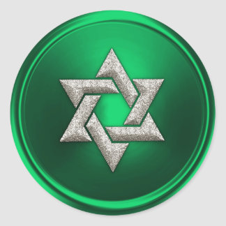 Silver Star of David Envelope Seal Green Classic Round Sticker