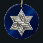 """Silver Star of David Hanukkah Ornament<br><div class=""""desc"""">Holiday Decor and Gifts by Tailored Type. I am more than happy to help you with your Zazzle experience. For example, do you like the design but need a different color? Need help with the Zazzle editor? No problem! Email me: carrie at tailoredtype dot com You can also use the...</div>"""
