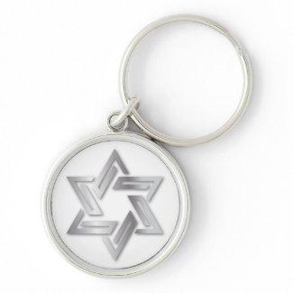Silver Star of David Keychain keychain