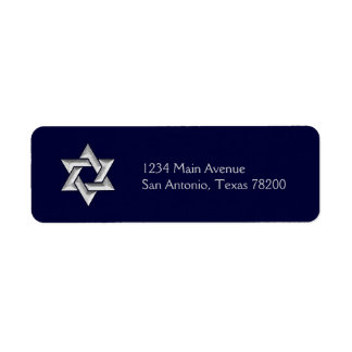 Silver Star of David on Any Color Background Label