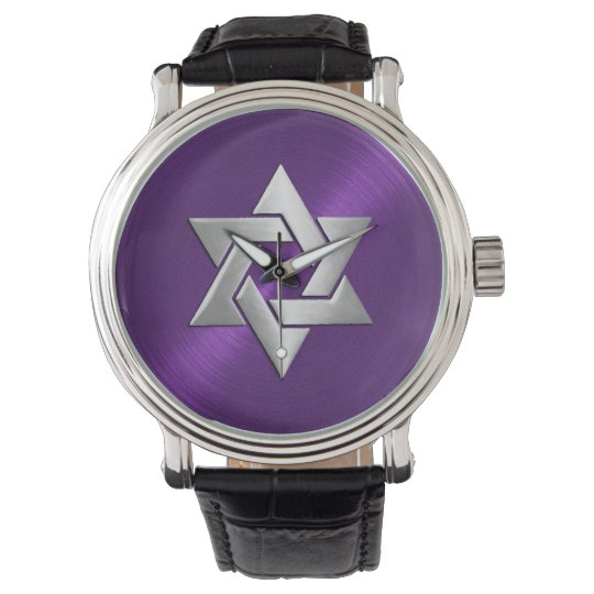 Silver Star of David on Purple Watches