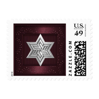 Silver Star of David Stamp on Burgundy Sparkle
