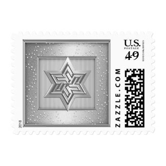 Silver Star of David Stamp on Gray Sparkle Frame
