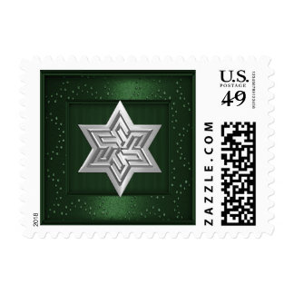 Silver Star of David Stamp on Green Sparkle Frame