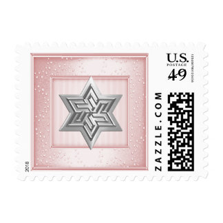 Silver Star of David Stamp on Light Pink Sparkle